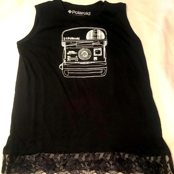Polaroid Tops - Retro POLAROID sleeveless tank with lace hem